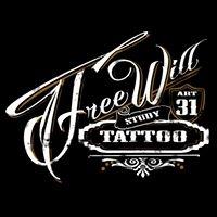 Logo empresa: estudio free will tattoo